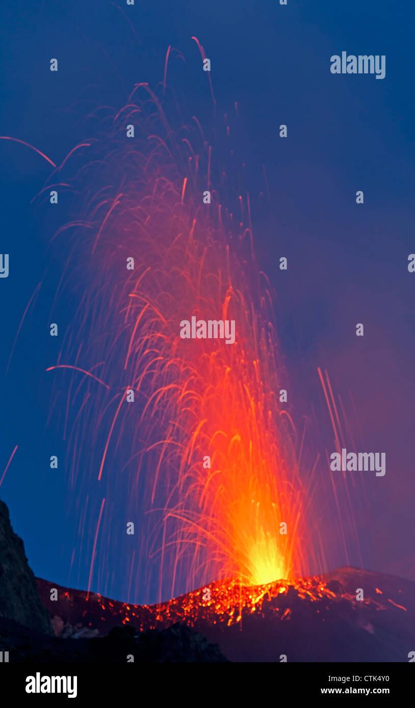 Eruptions of volcano Stromboli, Aeolian Islands, Italy - Stock Image