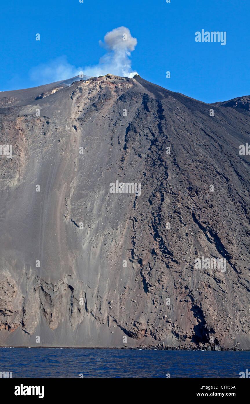 Volcano Stromboli, Aeolian Islands, Italy - Stock Image
