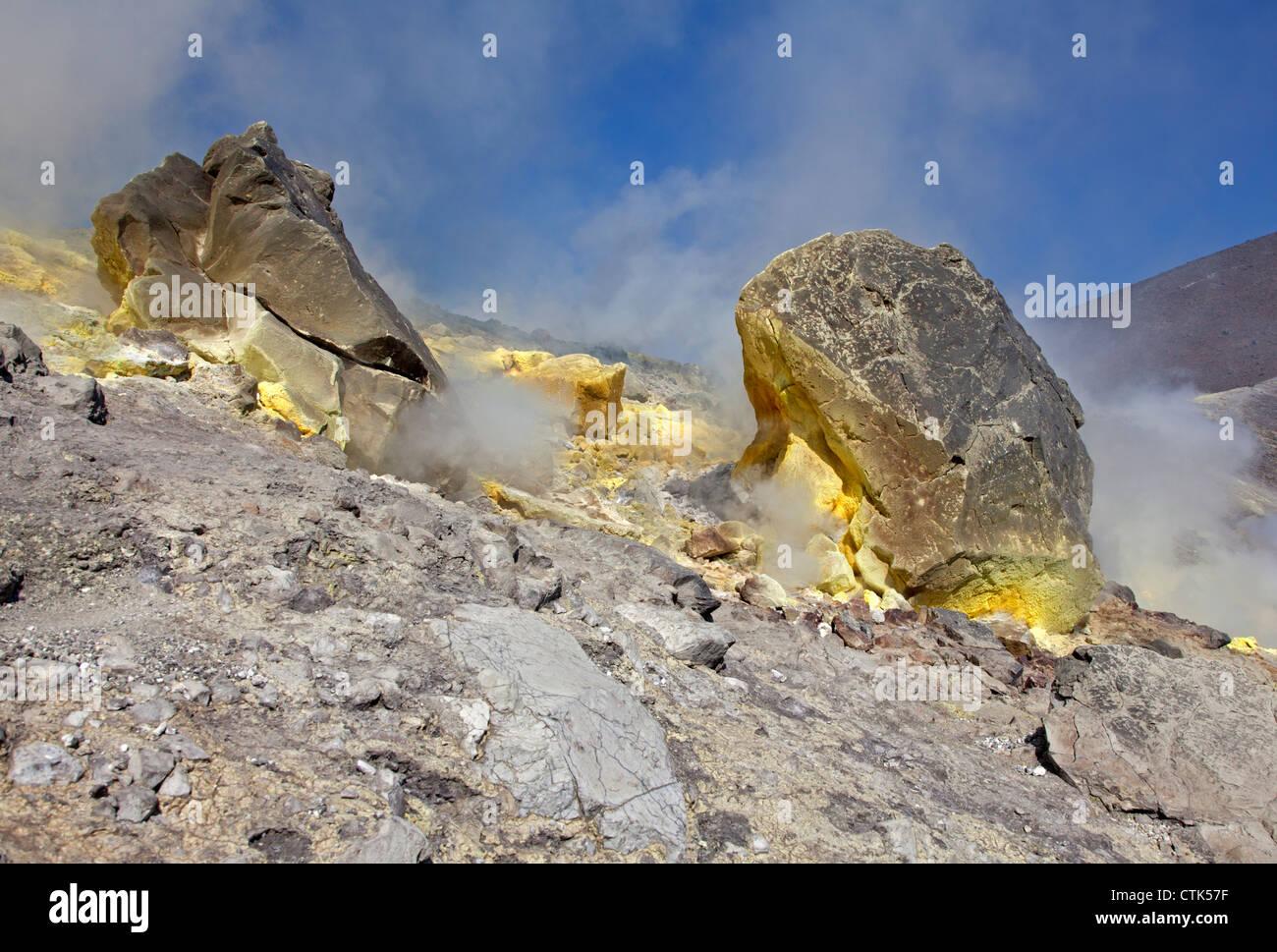 Sulphur at Vulcano Island, Aeolian Islands, Italy - Stock Image