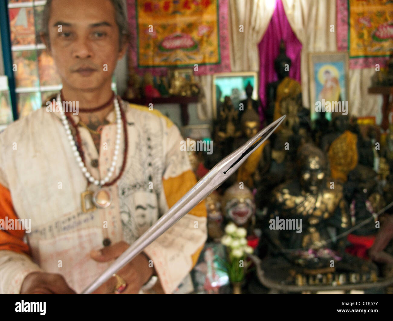 Sak Yan master, Ajahn Montree of Kalasin in the North East of Thailand. Sak Yan are the mystical tattoos popular - Stock Image