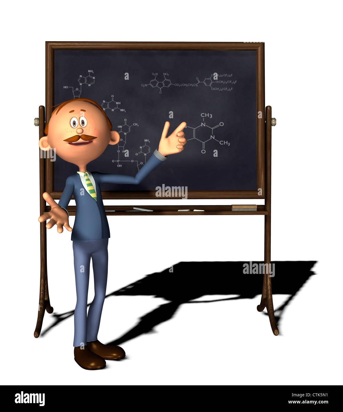 cartoon figure chemistry teacher with board and molecule formula - Stock Image