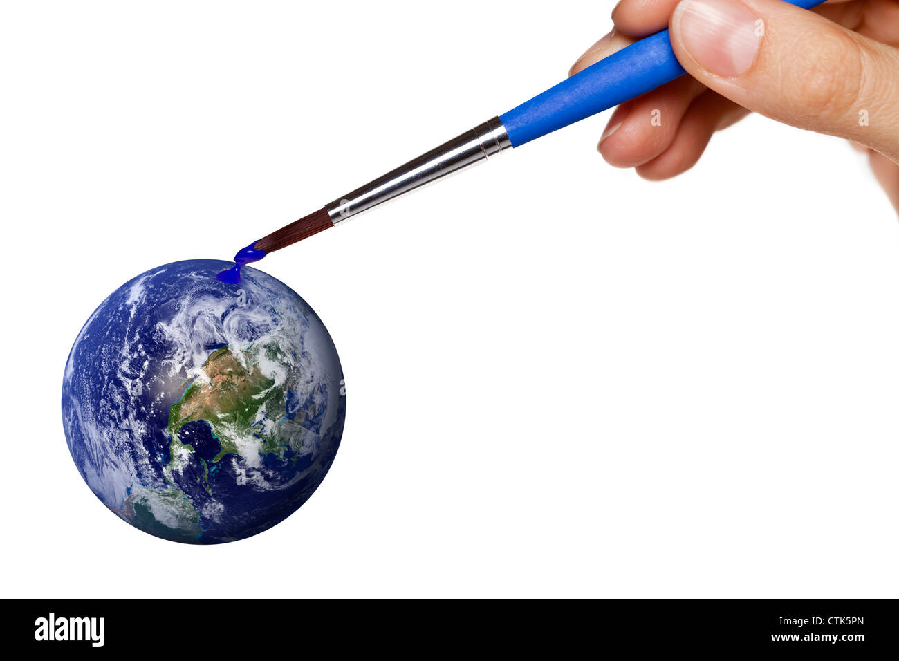 colouring blue planet earth - Stock Image