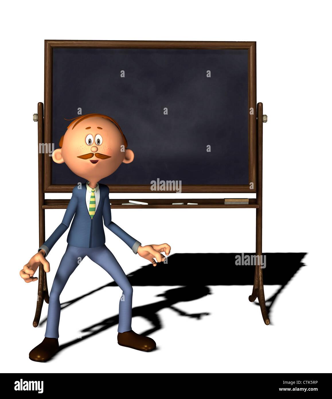 Cartoonfigur Lehrer mit Tafel / cartoon figure teacher with board Stock Photo