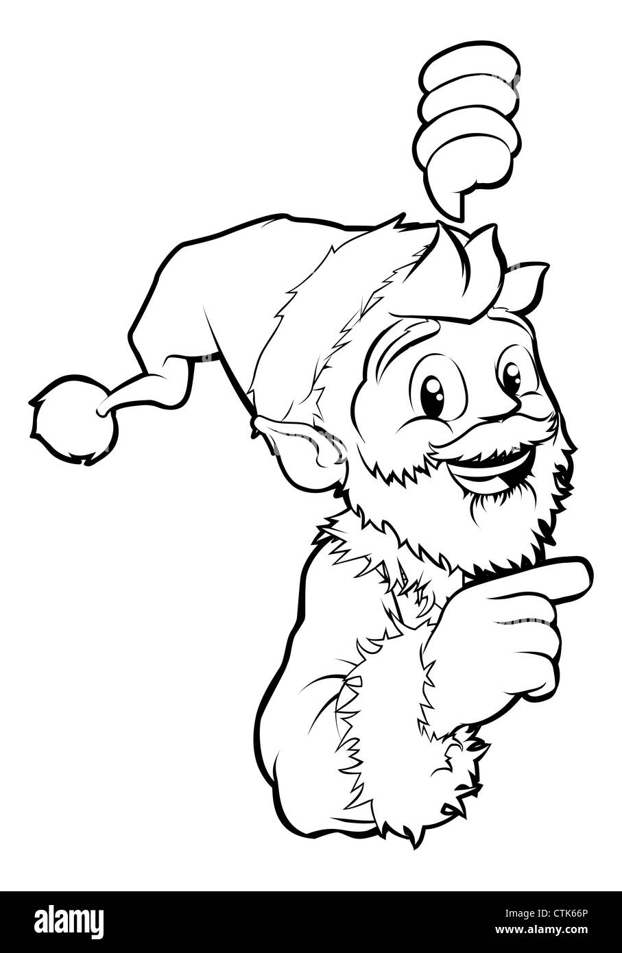 Black And White Santa Pointing Christmas Illustration Stock