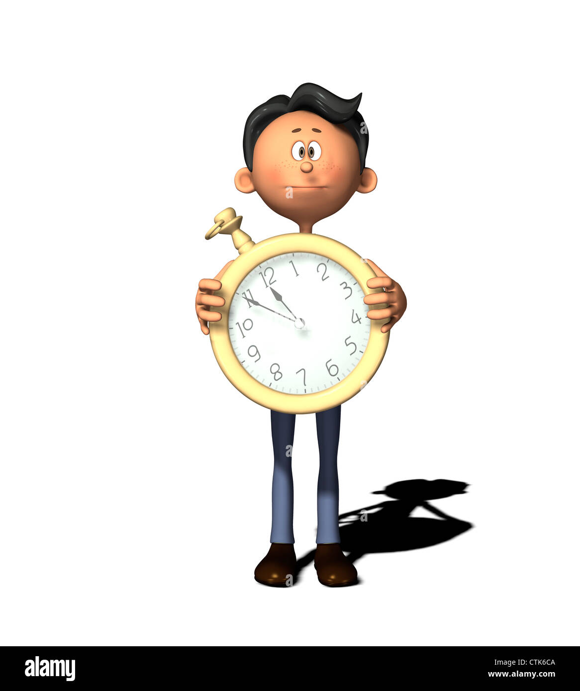 cartoon figure with clock  5 before 12 - Stock Image