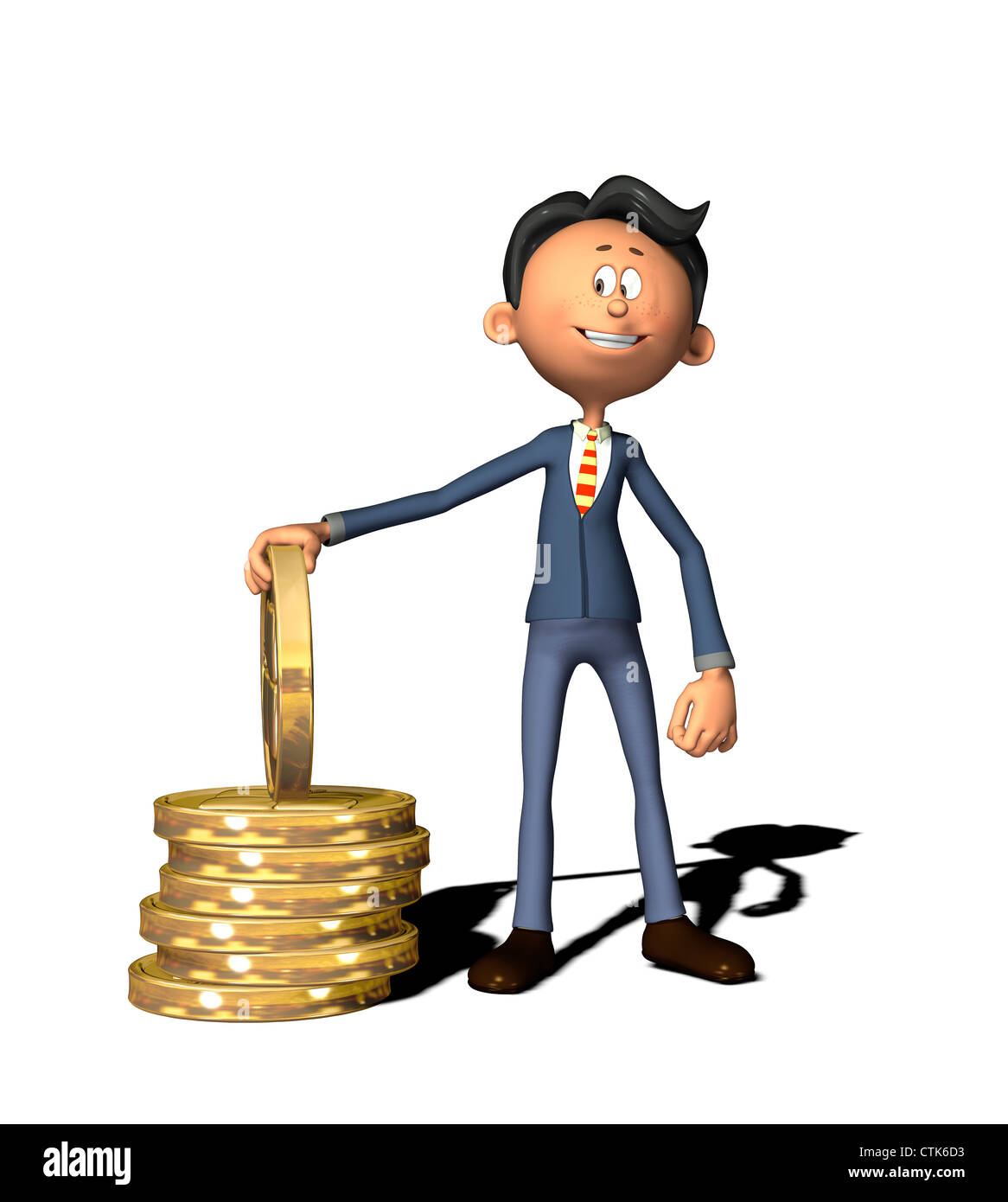 cartoon figure businessman with coins - Stock Image