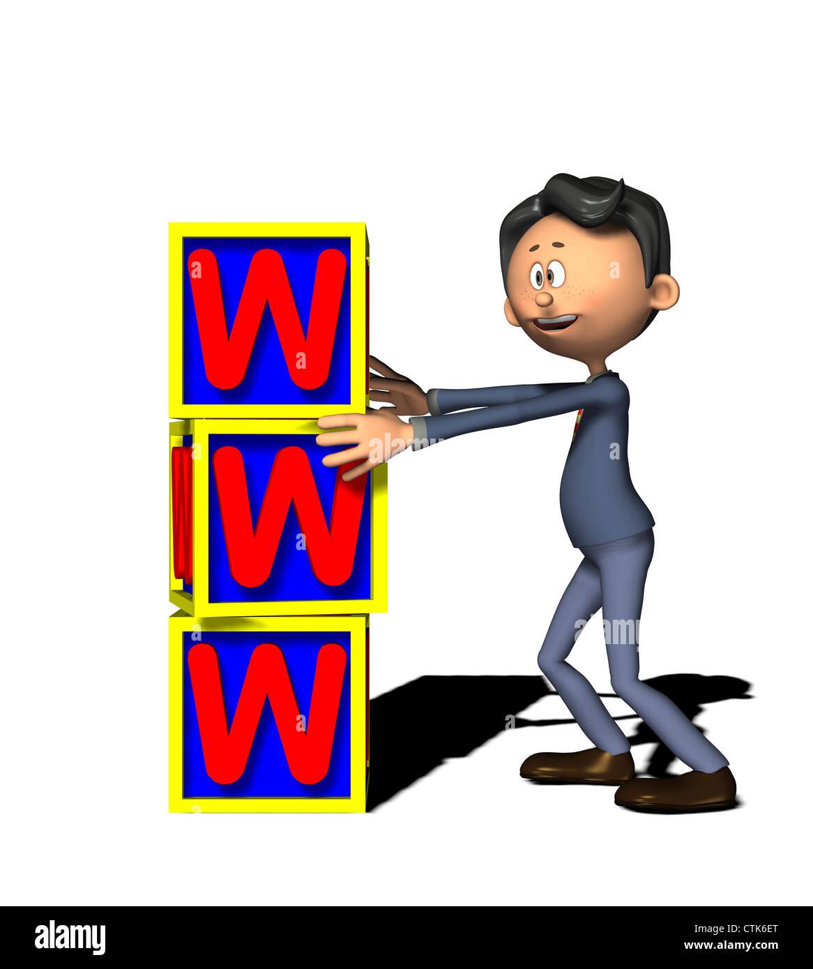 cartoon figure businessman with WWW - Stock Image