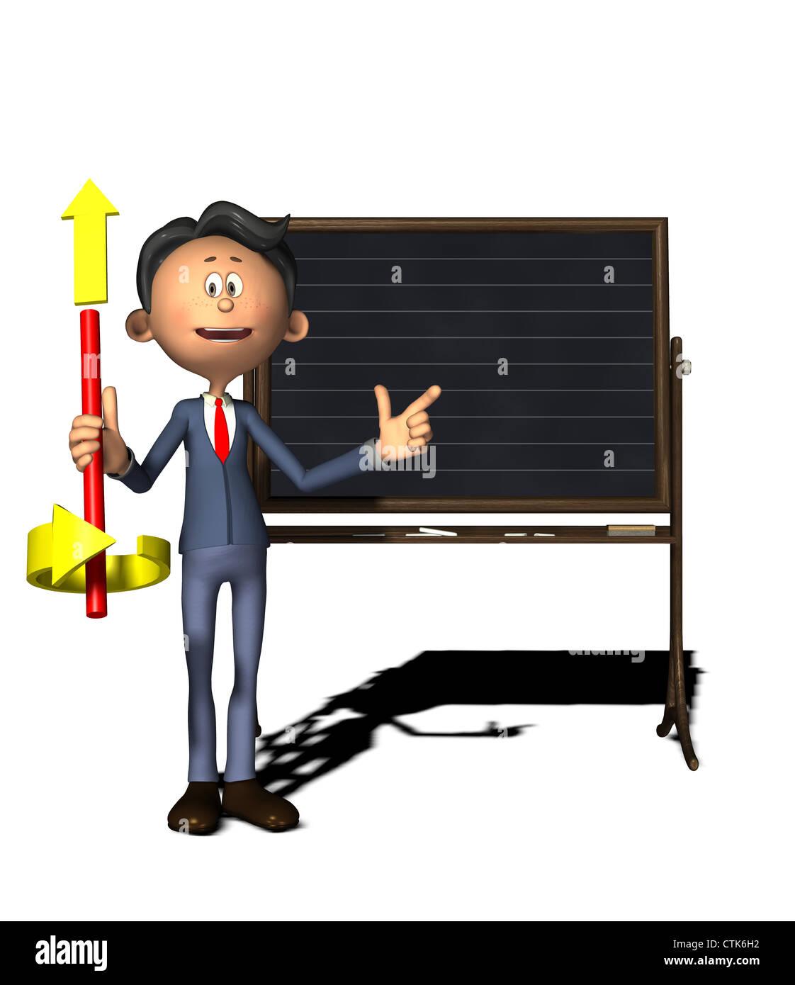 cartoon figure physics teacher shows the right-hand thumb rule - Stock Image