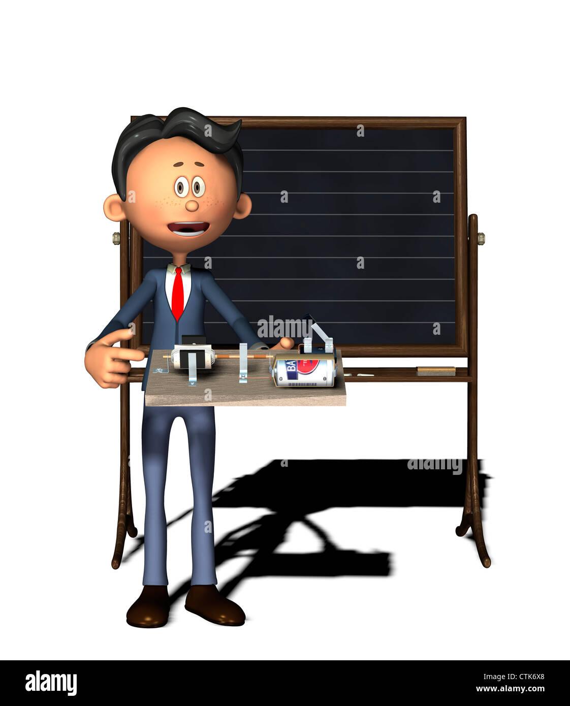 electric motor physics. Cartoon Figure Physics Teacher With Electronics Experiment (electric Motor) Electric Motor