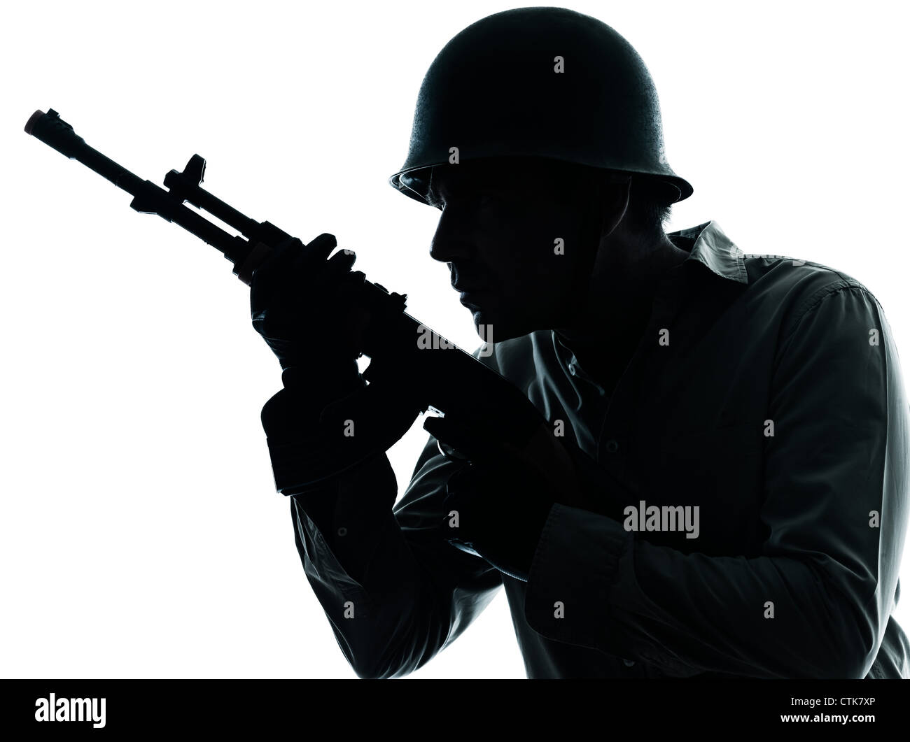 one caucasian army soldier man portrait on guard on studio isolated on white background - Stock Image