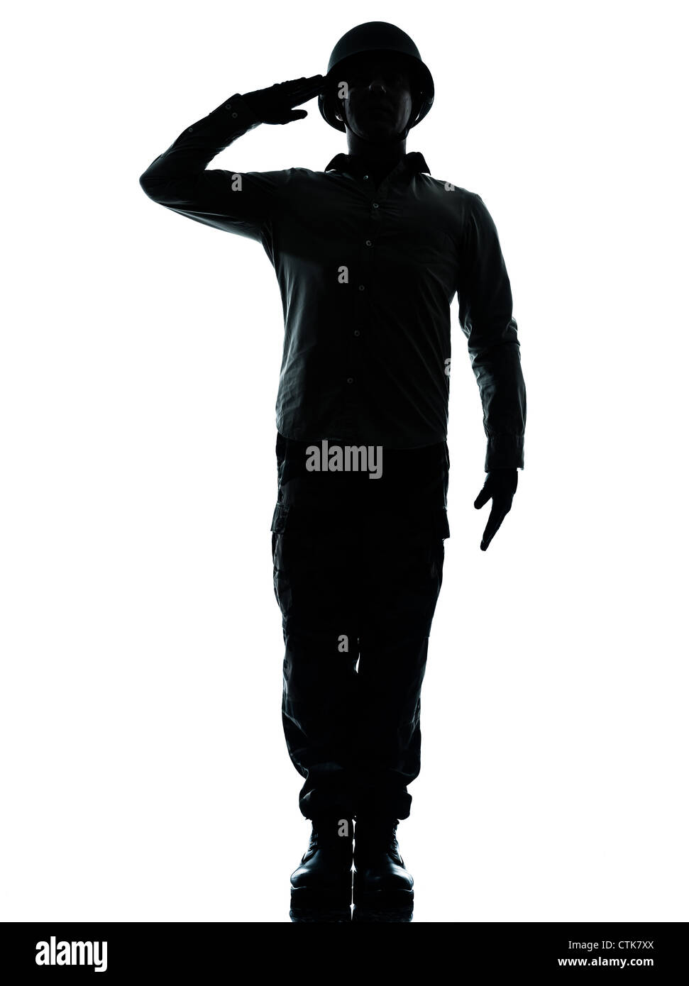 one caucasian army soldier man army soldier man saluting on studio isolated on white background - Stock Image