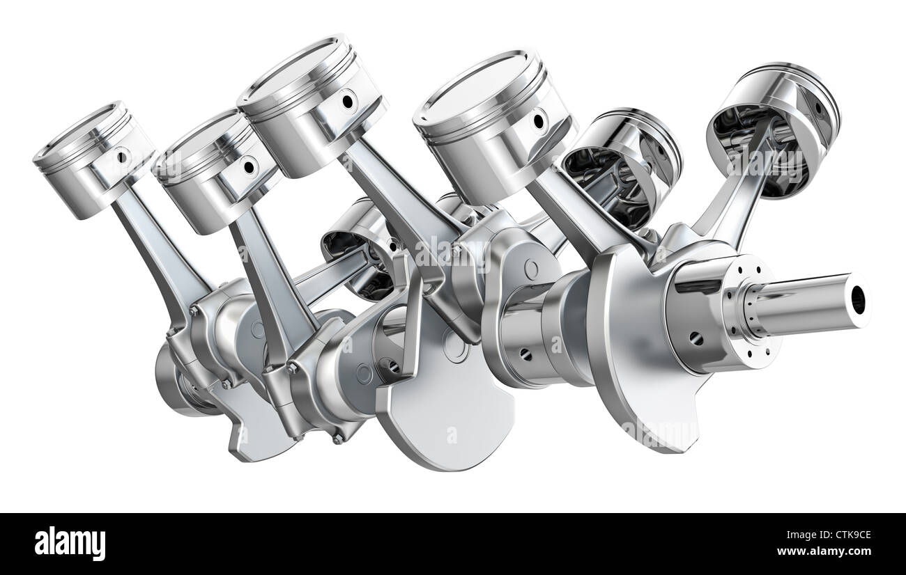 v8 engine pistons on a crankshaft, isolated on white background - stock  image
