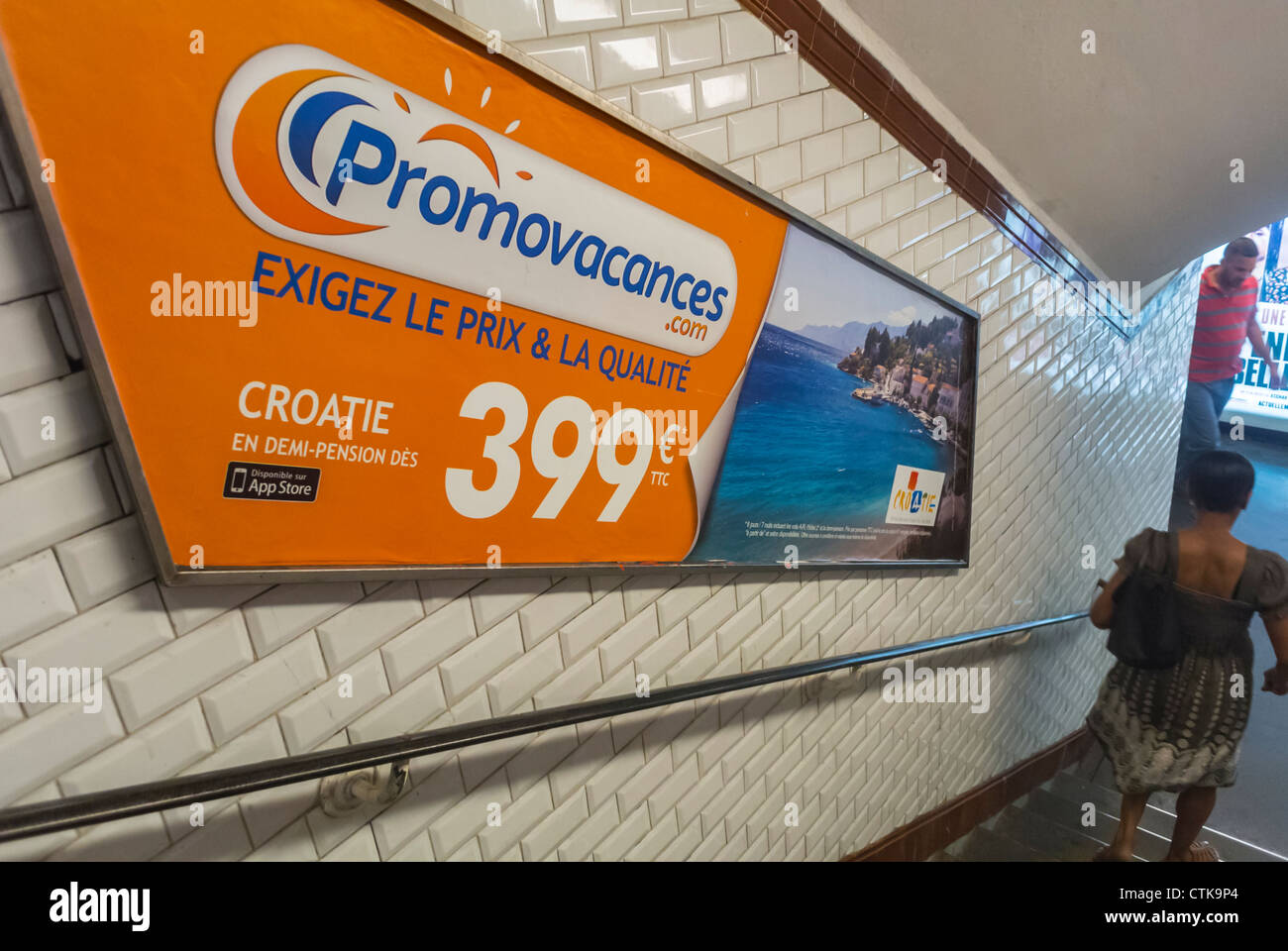 Paris, France, French Travel Advertising Posters in Metro - Stock Image
