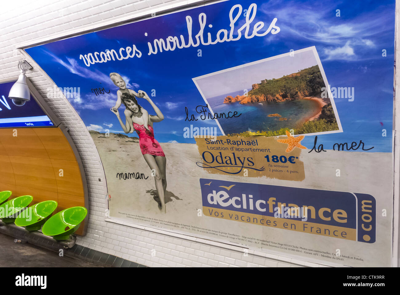 Paris, France, French Travel Advertising Billboards, Posters in Metro - Stock Image
