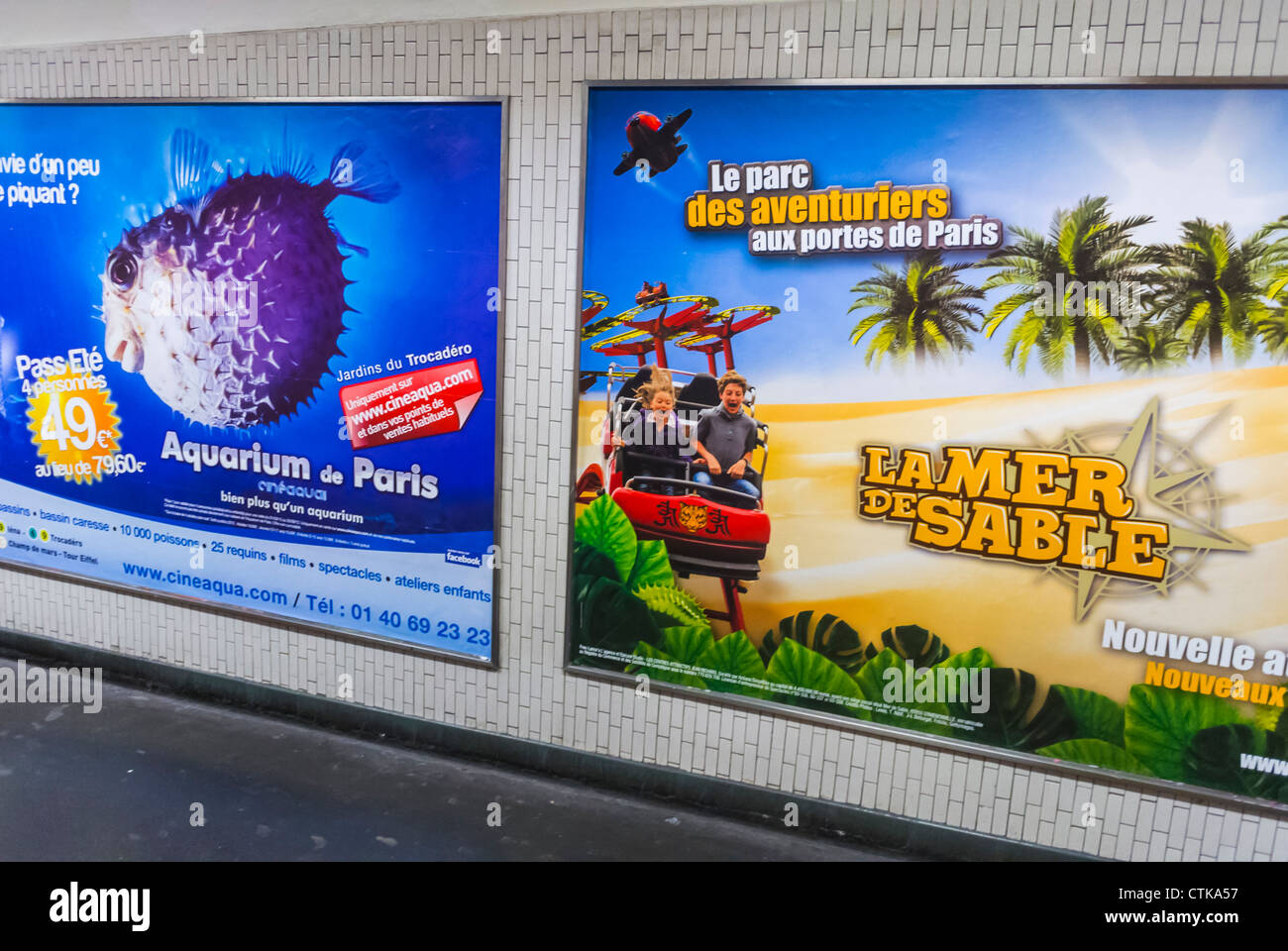 Paris, France, French Travel Advertising Posters in Metro Hallway - Stock Image