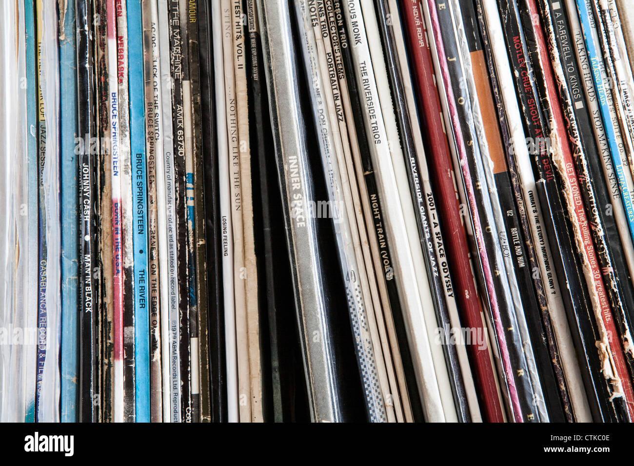 Collection of vinyl records on a shelf - Stock Image