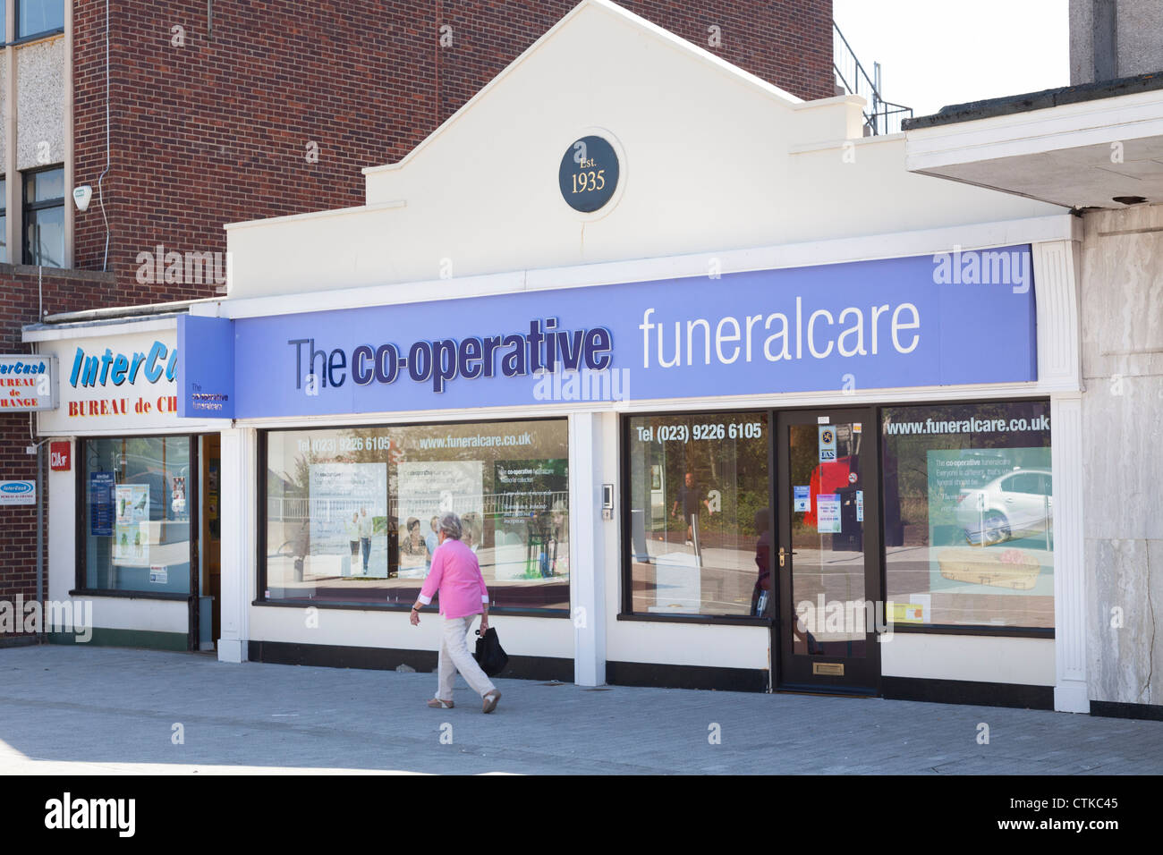 co-operative funeralcare shop front on high street - Stock Image