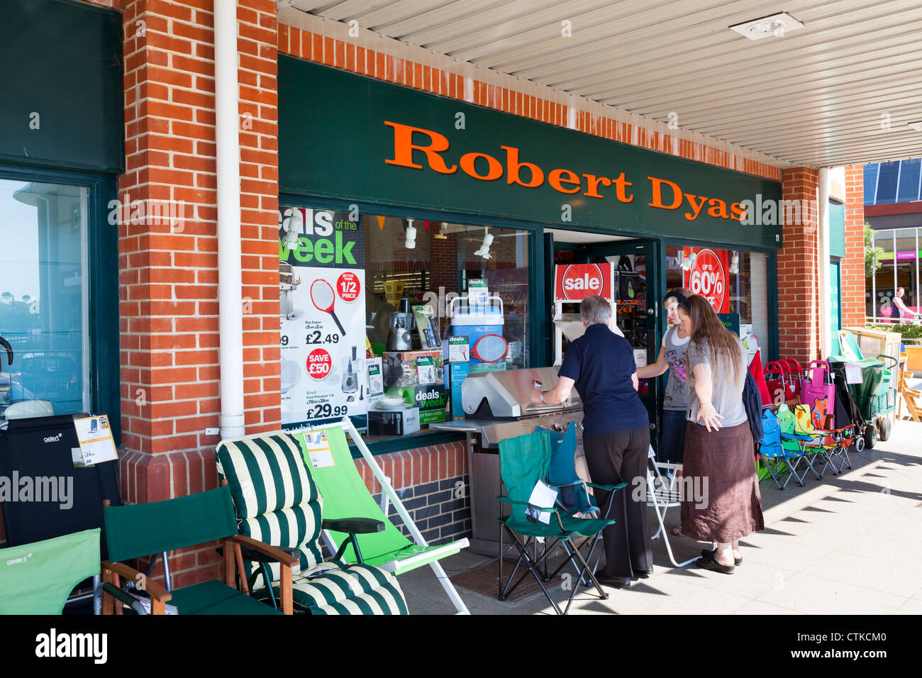 Robert Dyas shop front with goods on display outside - Stock Image
