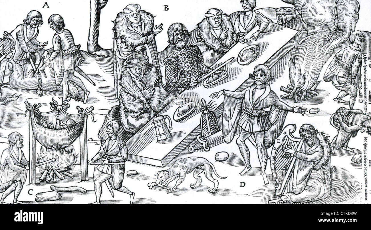 IRISH BARD (file) entertains a local chief to the accompaniment of a harp while the meal is prepared. Woodcut about - Stock Image