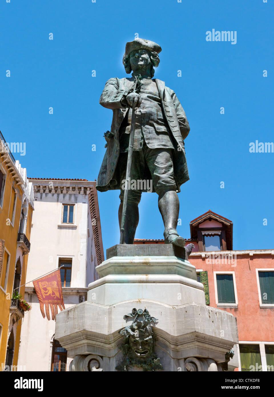 Carlo Goldoni Statue Venice Italy Stock Photo