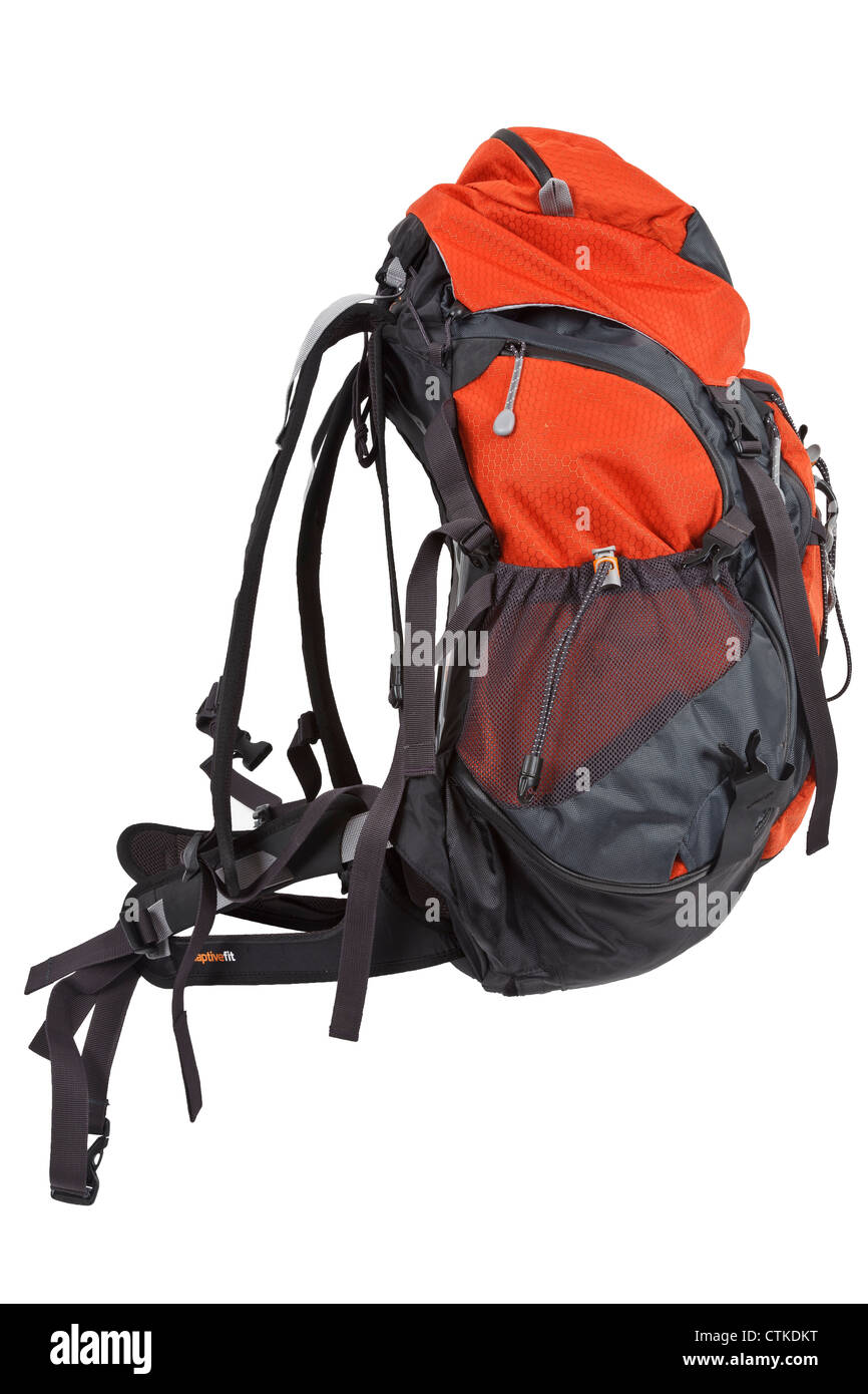 Modern rucksack/backpack Isolated on white with work-path - Stock Image