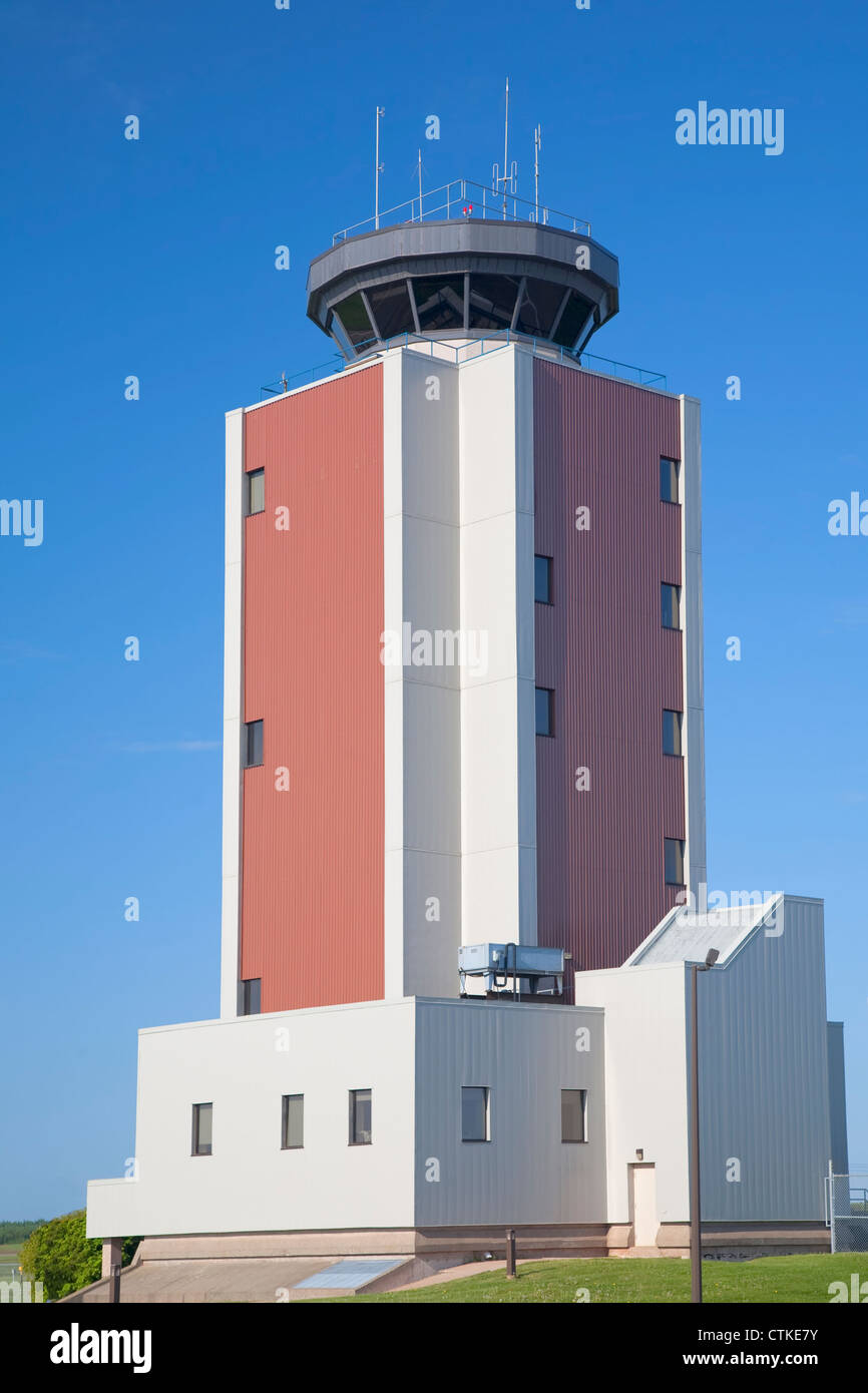 Air traffic control tower at a small airport. - Stock Image