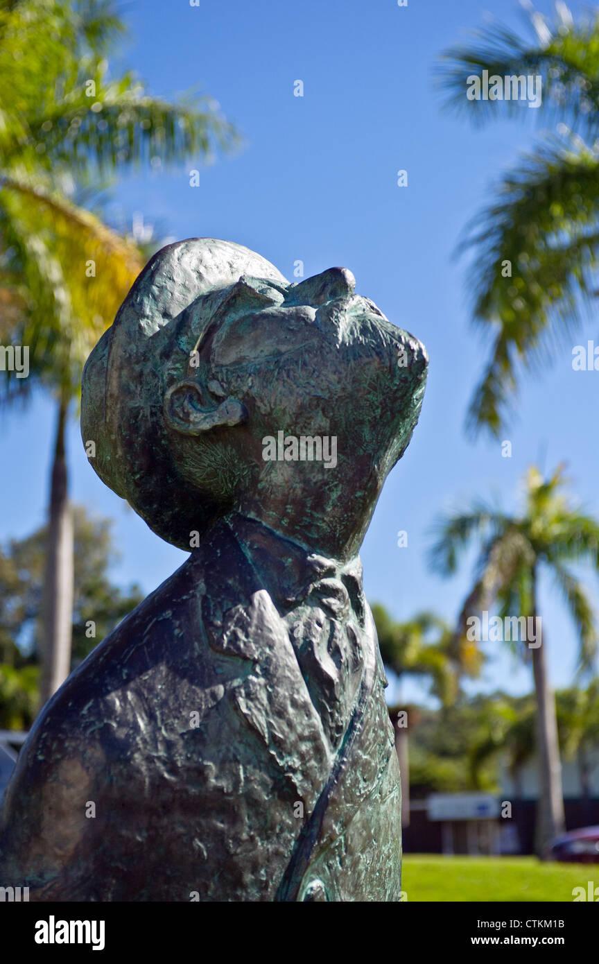 The Statue of Konstantin Tsiolkovsky, the Father of Cosmonautics in the Brisbane Botanic gardens - Stock Image