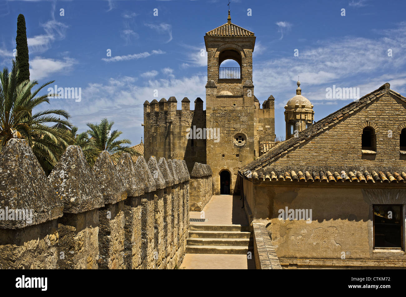Spain. Cordoba. The Christian Kings Alcazar. 14th century. Tribute Tower from the rampart. Andalusia. - Stock Image
