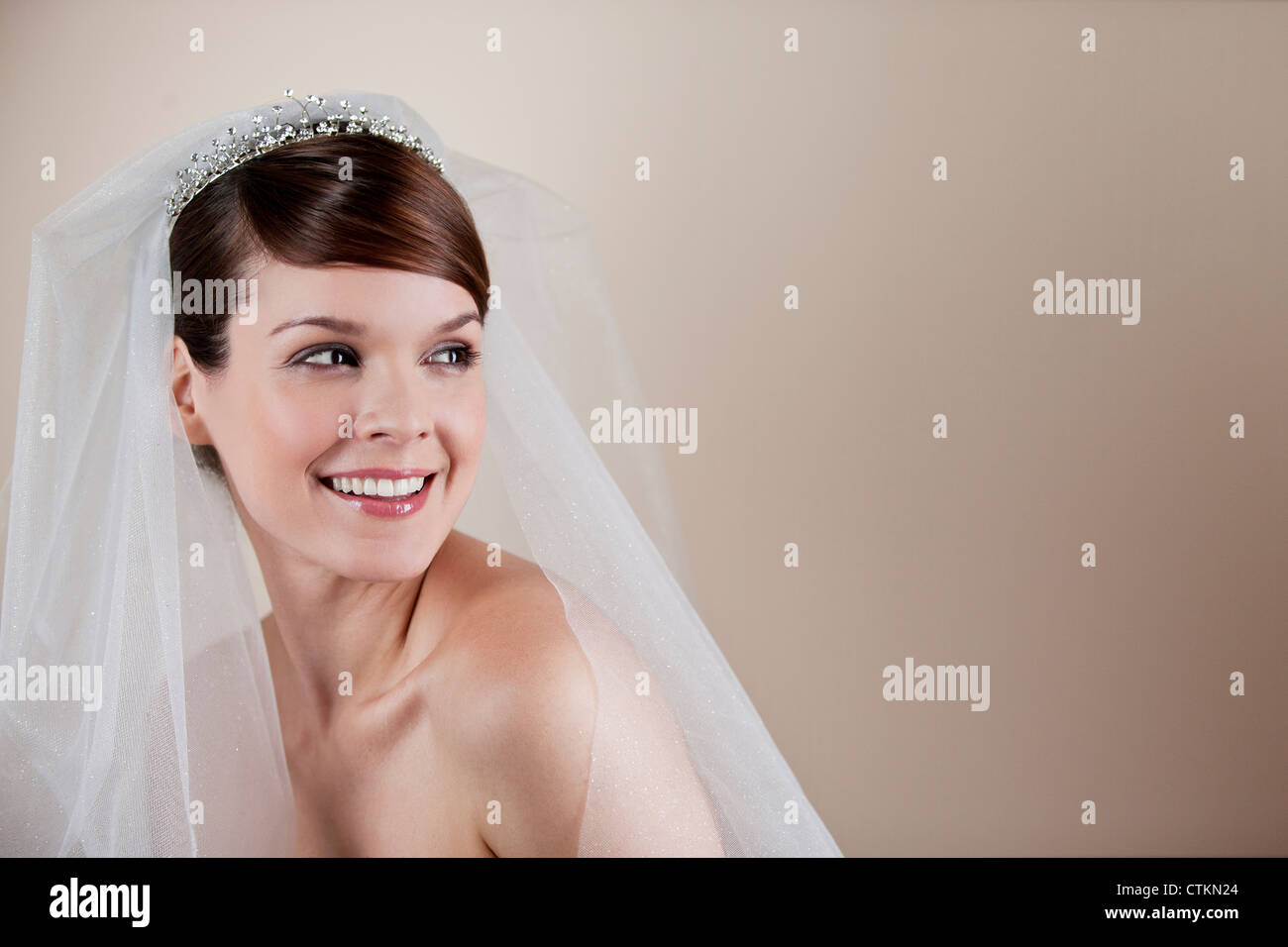 A young bride wearing a tiara and veil, looking to the side Stock Photo