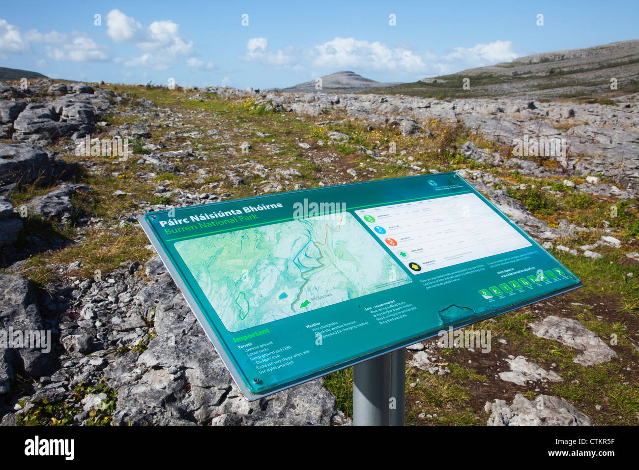 Burren Ireland Map.A Map And Information Sign On A Post The Burren County Clare Stock