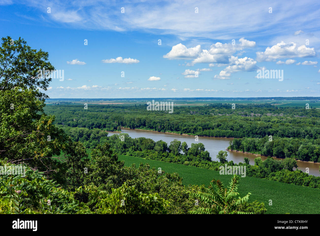 View over the Mississippi River from a lookout on the Great River Road (MO 78) between Hannibal and St Louis, Missouri, - Stock Image