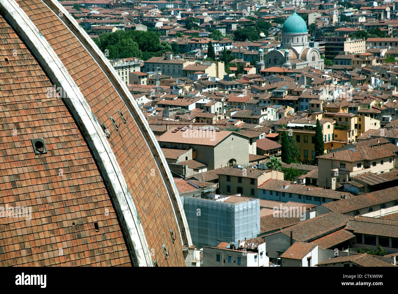 Green cupola of Great Synagogue of Florence, Italy with part of Duomo on left Stock Photo