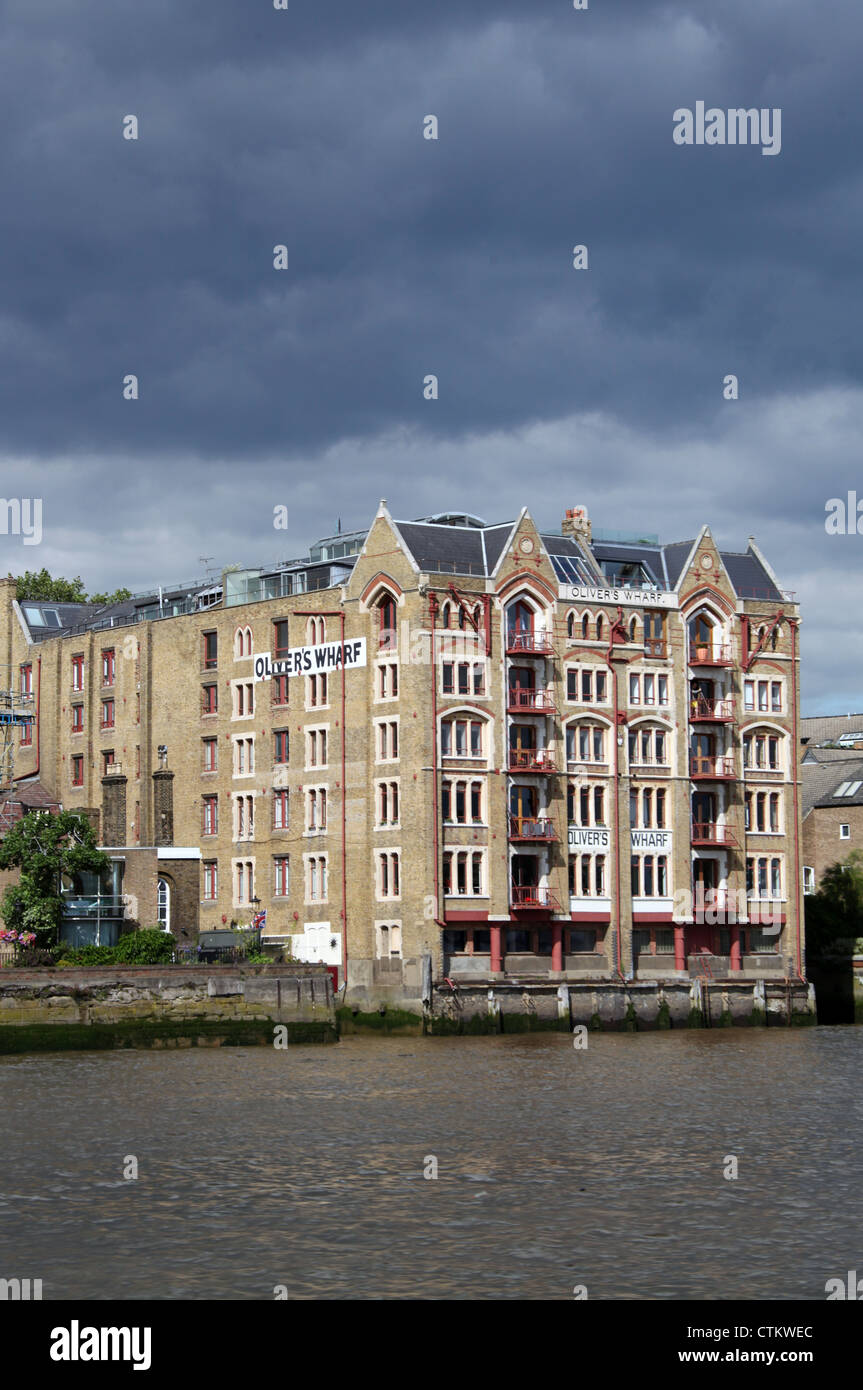 Olivers Wharf on the Waterside of the River Thames in London Stock Photo