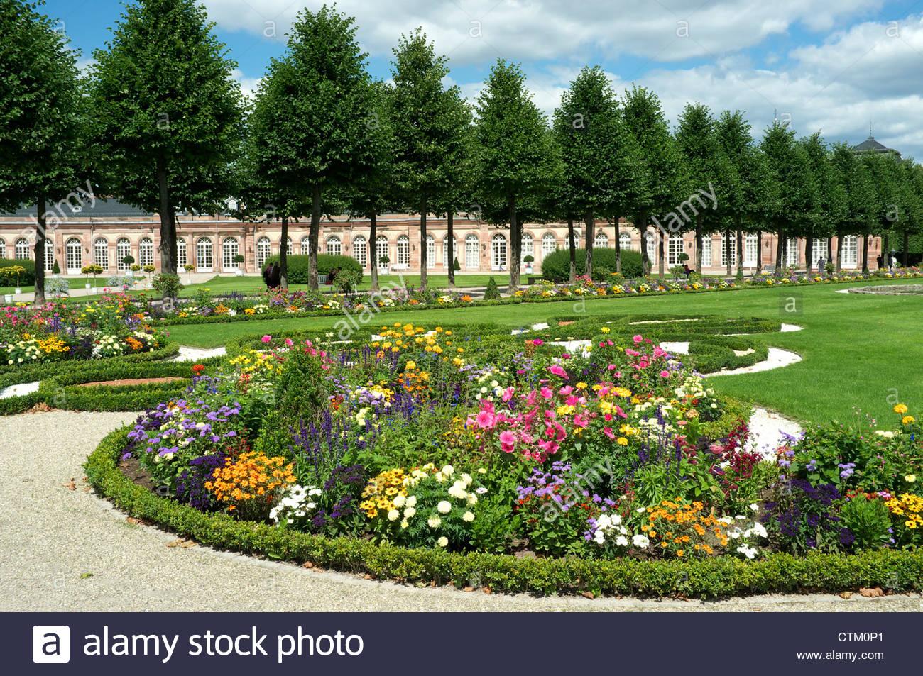 Schwetzingen Palace garden scene, Baden-Württemberg, Germany. - Stock Image