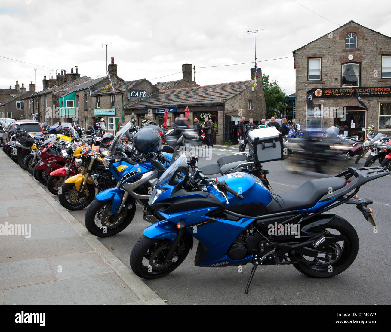 High Street in Hawes, North Yorkshire Dales National Park, UK - Stock Image