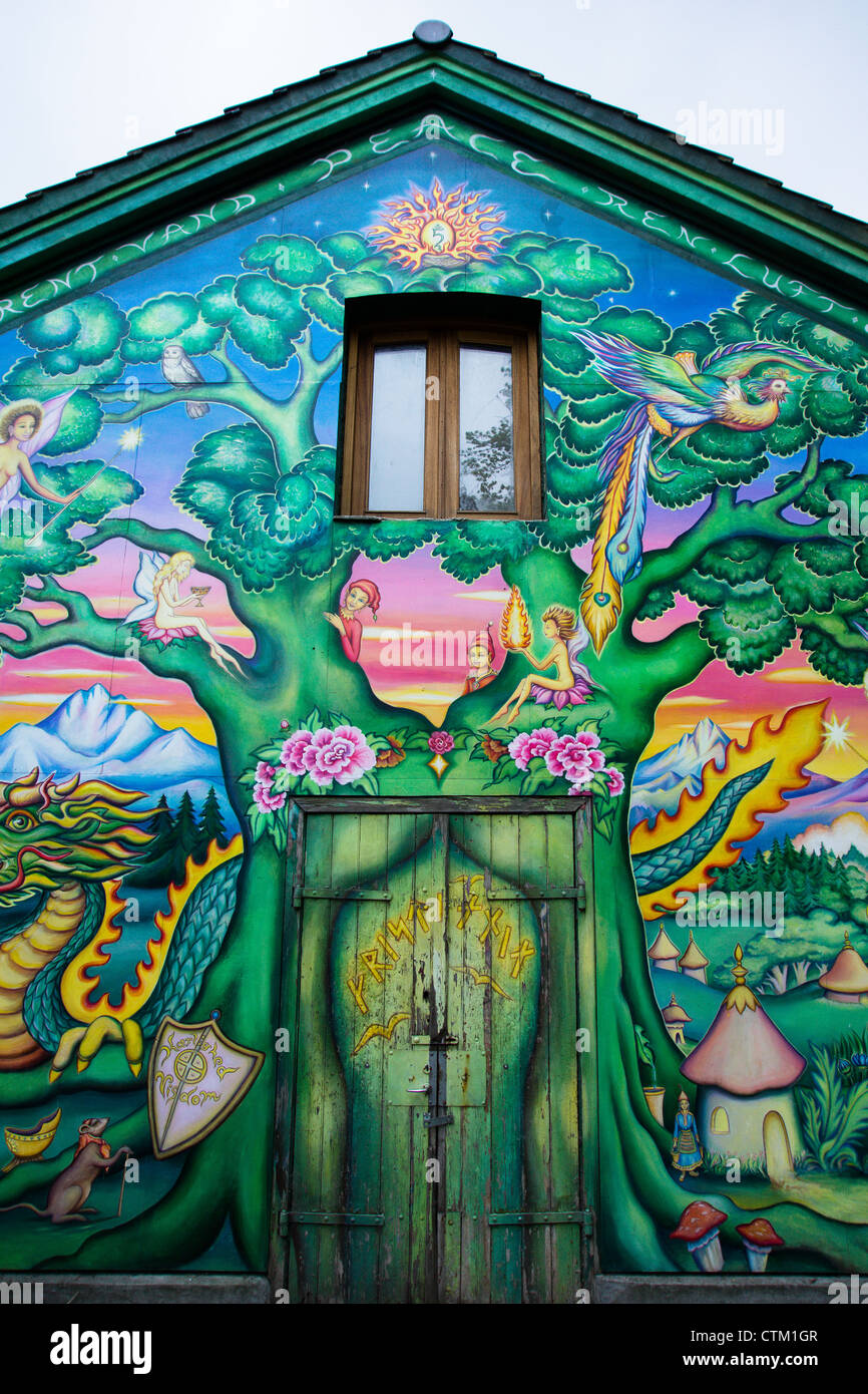 Christiania in the center of Copenhagen is worldfamous for beeing af 'free city' - Stock Image