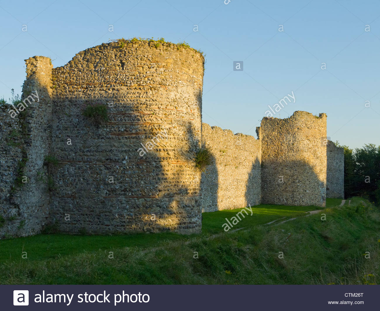 Portchester medieval Castle Hampshire England UK Flint Stone Towers - Stock Image