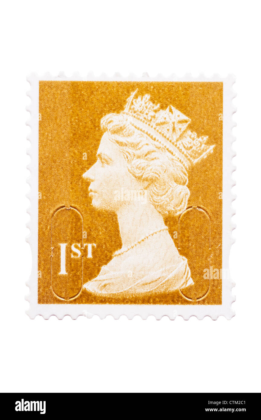 A 1st class postage stamp on a white background - Stock Image