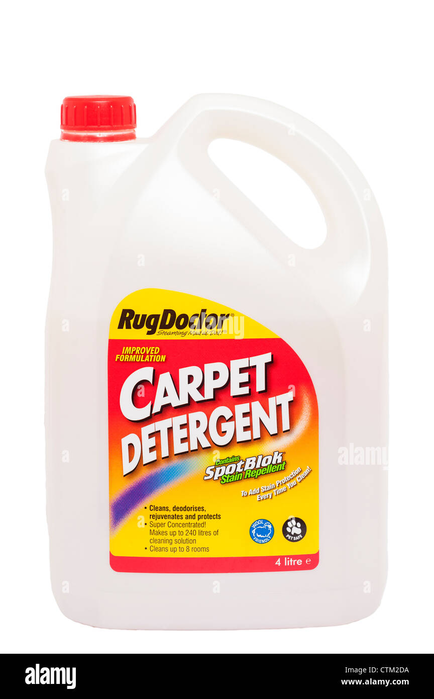 A tub of RugDoctor carpet detergent for cleaning carpets on a white background - Stock Image