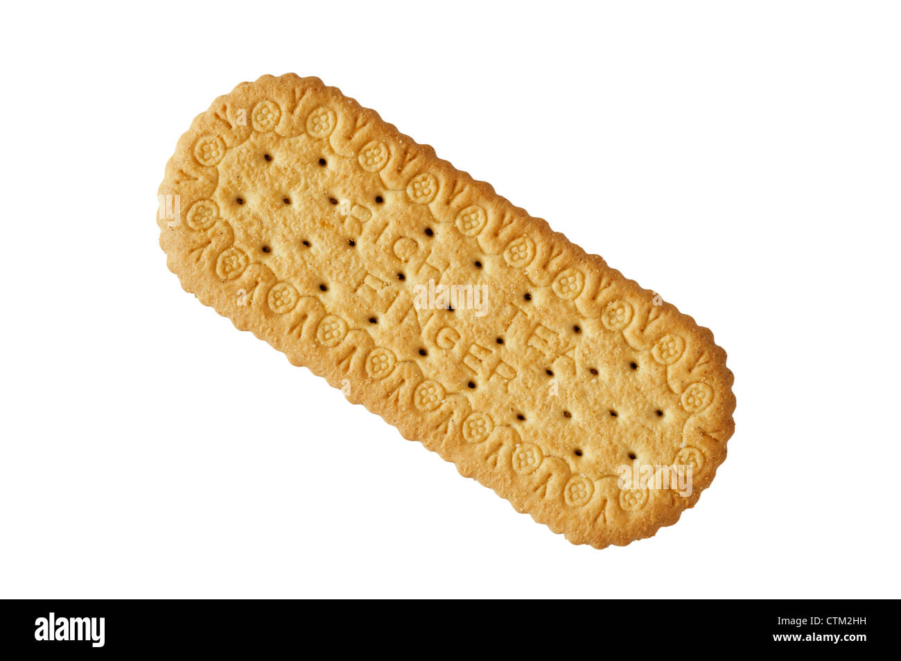 A Rich Tea Finger biscuit on a white background - Stock Image