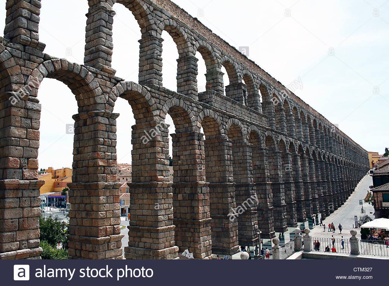 Acueducto de Segovia, acqueduct of Segovia, Spain. - Stock Image