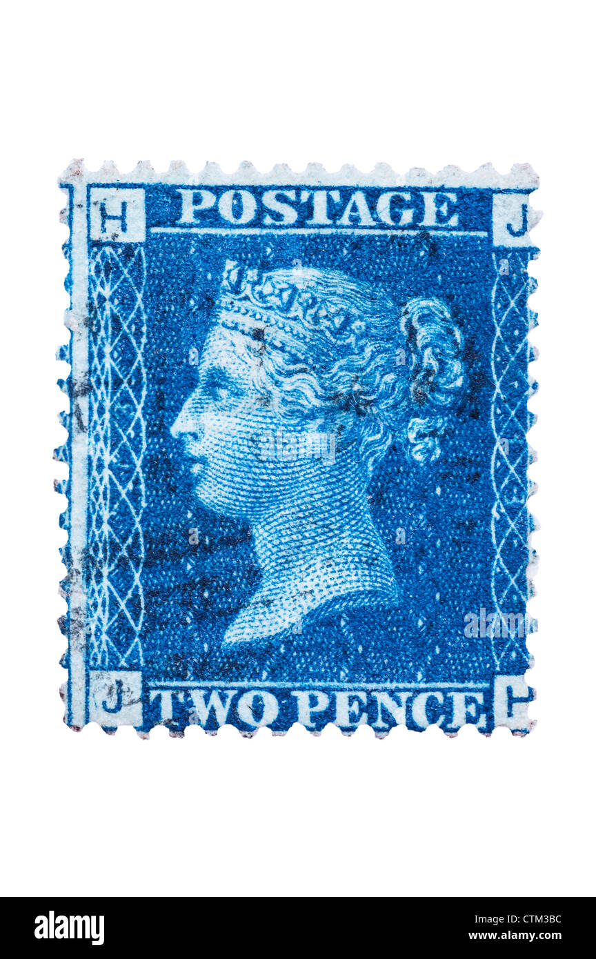 A Victorian two penny blue 2d postage stamp on a white background - Stock Image