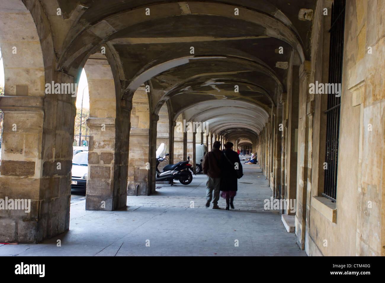 Paris, France,  Autumn, People Promenading, in Arches of place des Vosges, in the Marais District - Stock Image