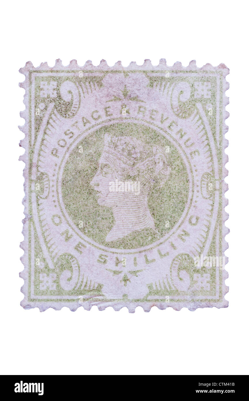 A Victorian one shilling green 1s postage stamp on a white background - Stock Image