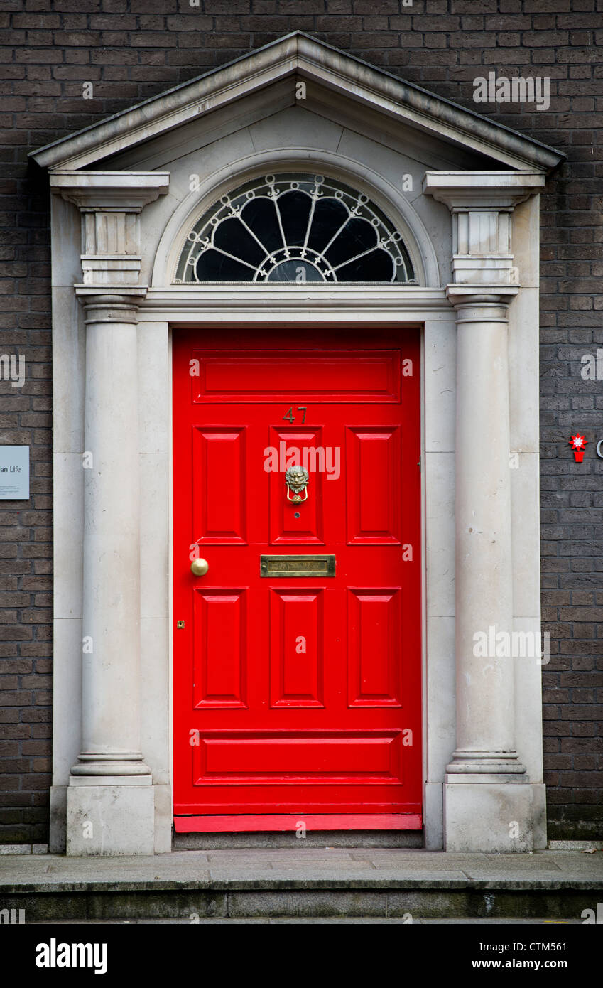 a colorful front door of a residence in Dublin Ireland. - Stock Image