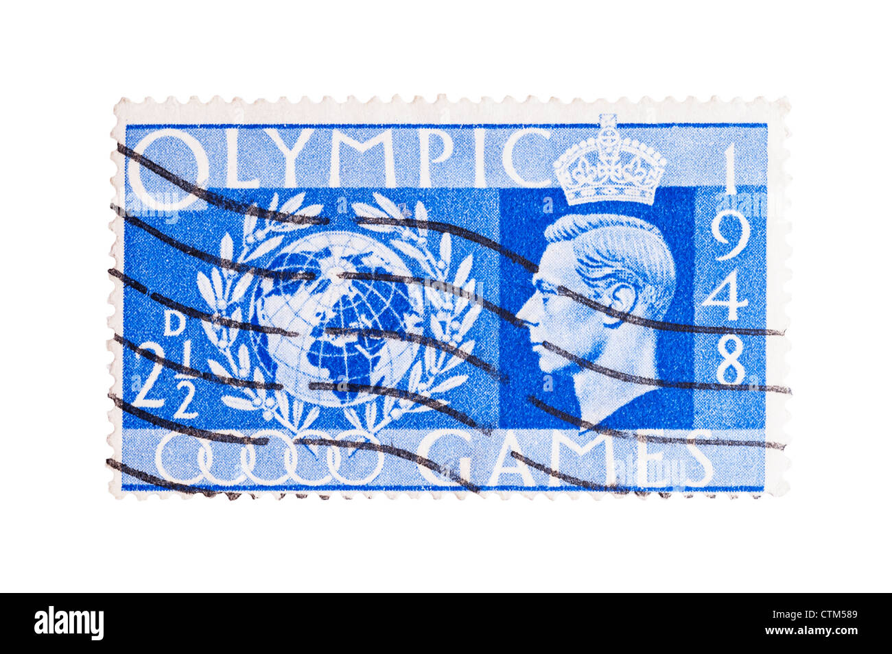 A King George VI two and a half pence blue 2 1/2d Olympic Games 1948 postage stamp on a white background - Stock Image