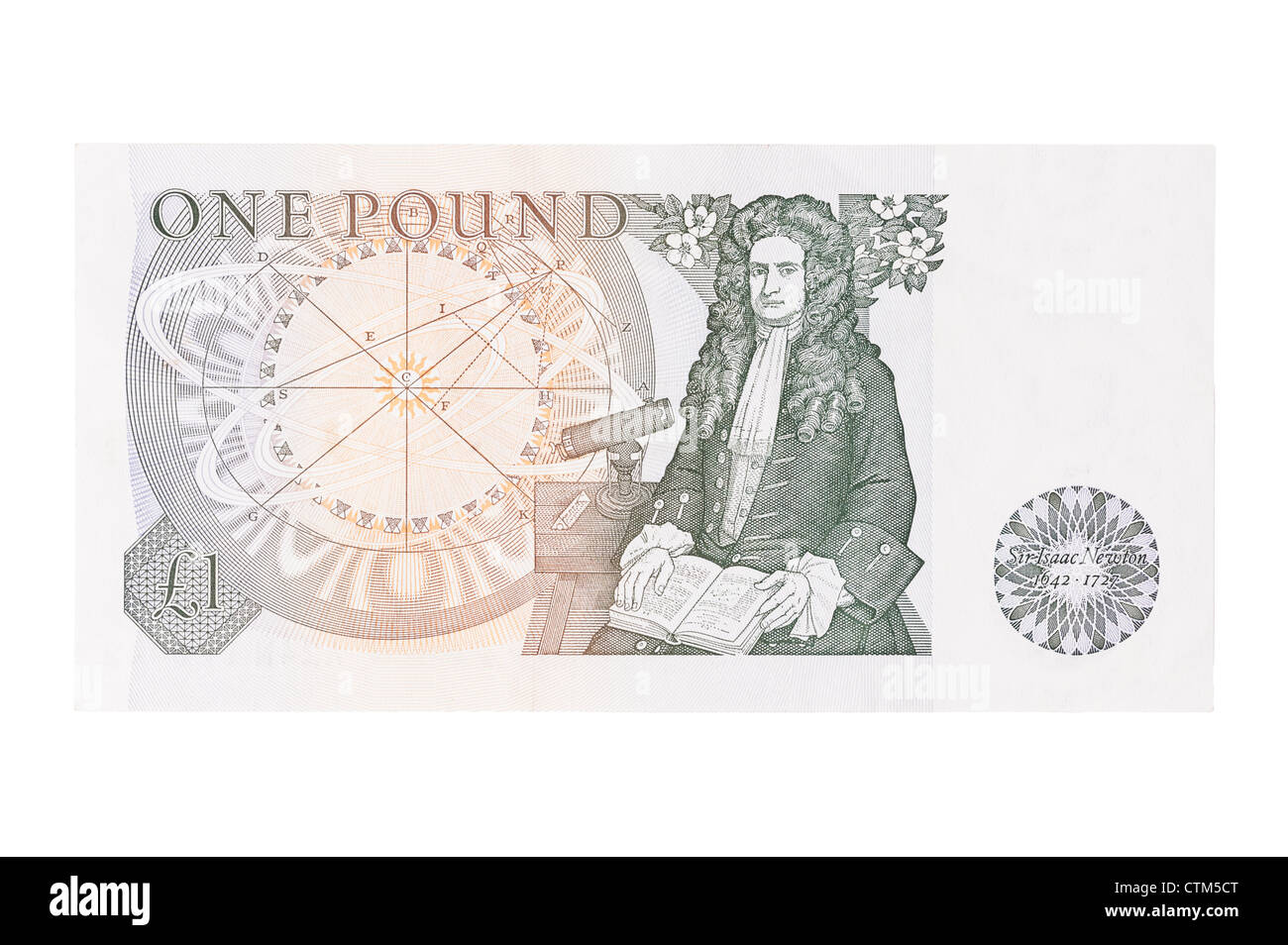 A one pound £1 bank note of English currency on a white background - Stock Image