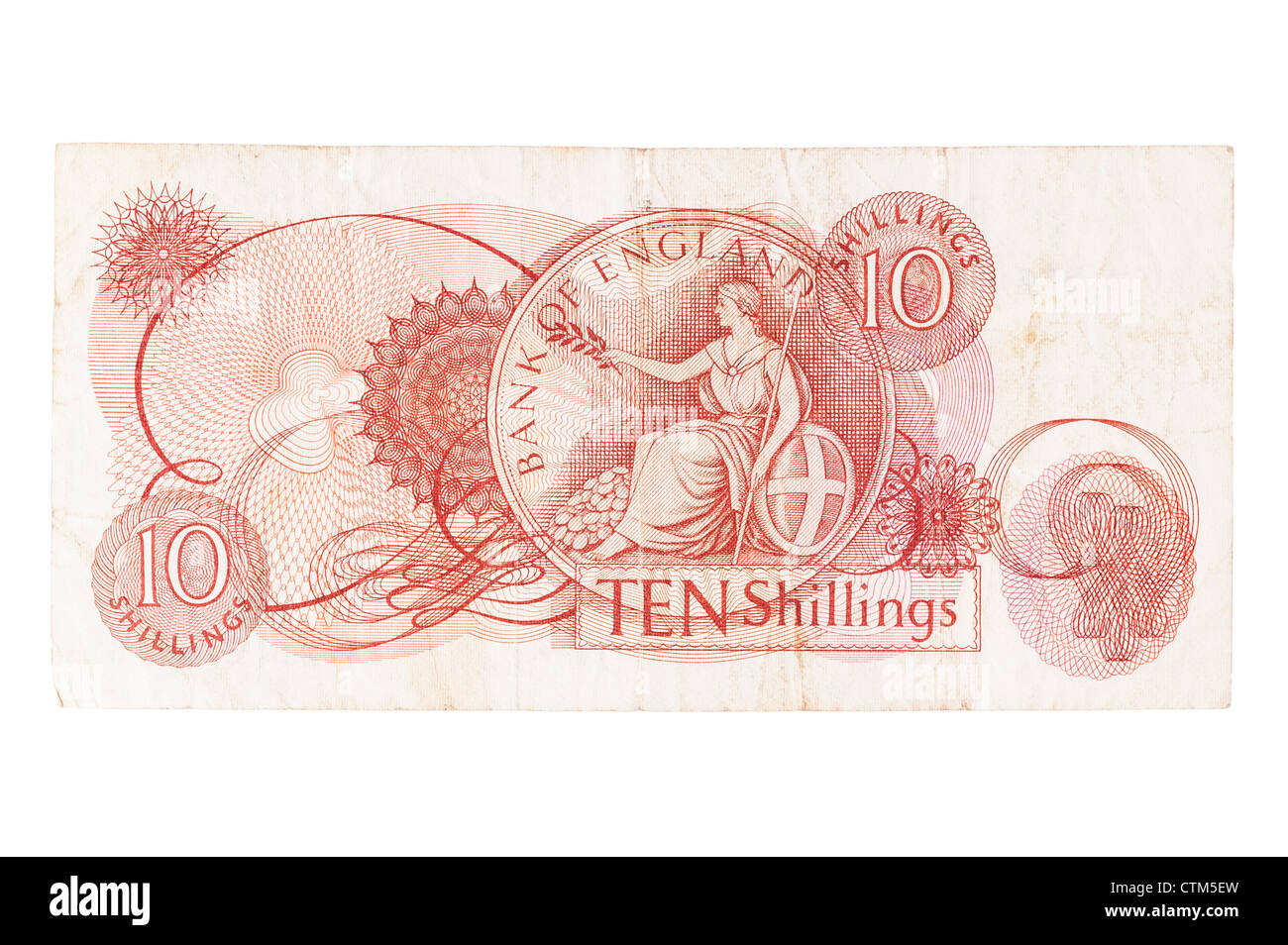 A ten shilling 10s pre decimal bank note of English currency on a white background - Stock Image