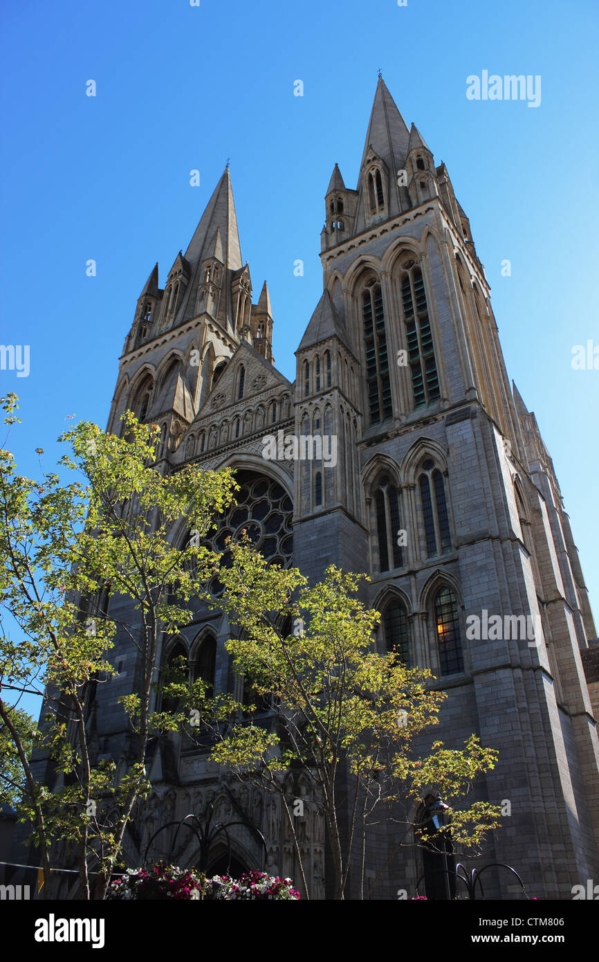 Truro Cathedral Spires seen from High Cross - Stock Image