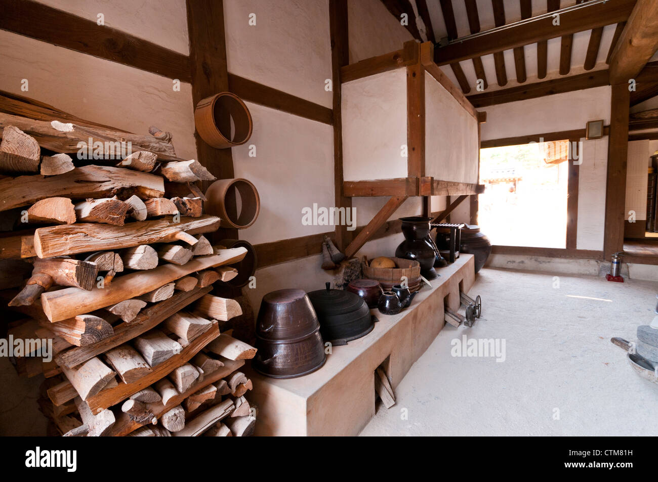 Interior of traditional Korean house's kitchen, Namsangol Hanok Village , Seoul, Korea Stock Photo